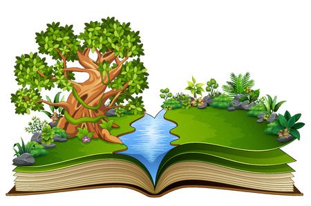 Open book with animals cartoon on the trees Vectores