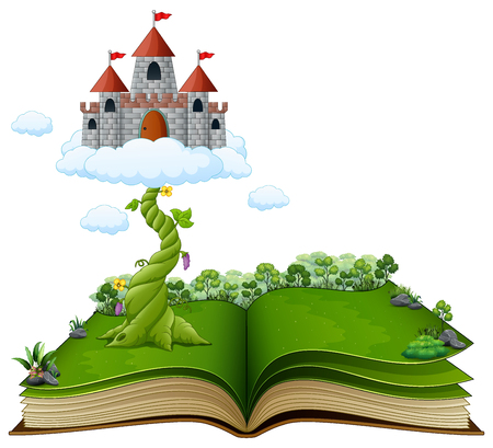 Story book with magic beanstalk and castle in the clouds
