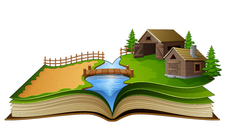 Open book with farm scene, barn and trees on a white background