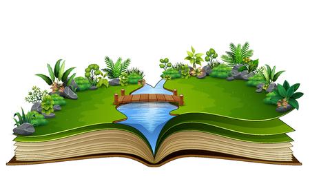 Offenes Buch mit Fluss und grüner Pflanze des Naturhintergrunds