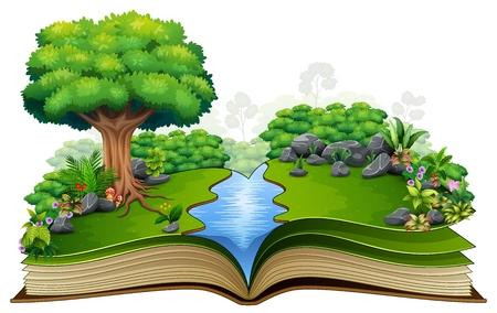 Libro aperto con fiume e pianta verde della priorità bassa della natura Vettoriali