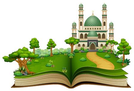 Libro abierto con mezquita islámica en el parque. Ilustración de vector