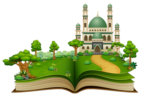 Open book with Islamic mosque in the park