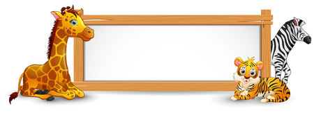 The animals and blank sign wood Ilustração