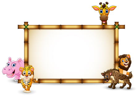 The animals playing together with bamboo frame Banco de Imagens - 106845960
