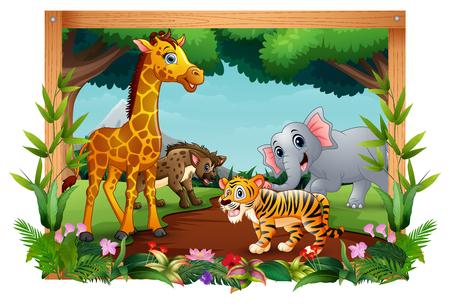 Animals are in the forest landscape Ilustração