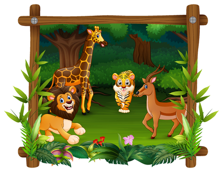 Happy animals in frame forest Banco de Imagens - 106845977