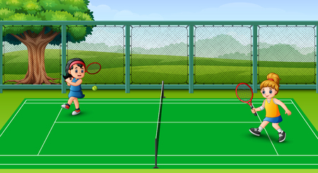 Happy kids playing tennis at the courts Vectores
