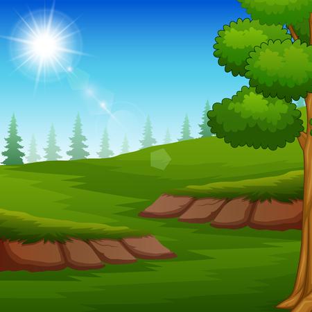 Paisaje de la naturaleza con prado verde y luz del sol Ilustración de vector