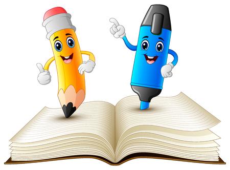 Illustrazione vettoriale di cartone animato matita ed evidenziatore in piedi sul libro