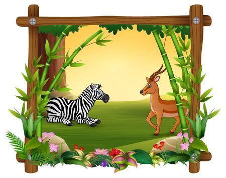 Zebra and deer in forest frame