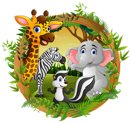 Happy animals in frame forest Banco de Imagens - 106869136