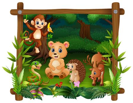 The animals meet in forest Ilustração