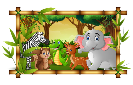 Happy animals in bamboo frame forest Banco de Imagens - 106869143