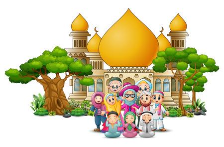 Heureux dessin animé enfants musulmans devant une mosquée Vecteurs