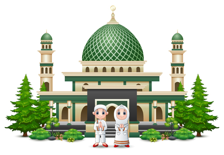 Islamic mosque building with green plant Vetores