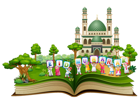 Open book with happy Islamic kids and colorful text Eid Mubarak in front of a mosque