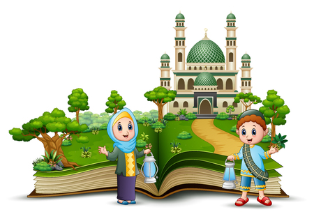 Open book with Happy Muslim Family in front of a mosque