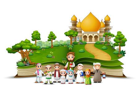 Libro abierto con un grupo de musulmanes en el frente de la mezquita islámica. Ilustración de vector