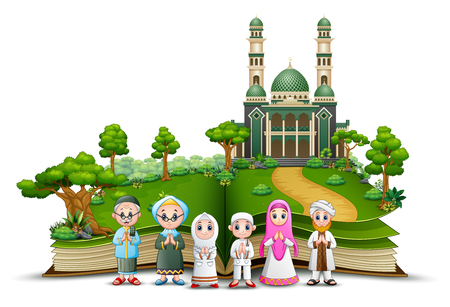 Open book with Happy Muslim Family in front of a mosque Ilustração