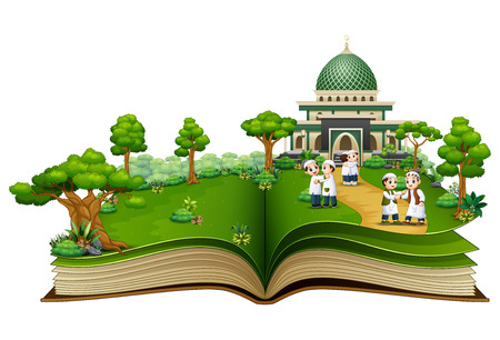 Open a book with Group of Muslim people shaking hands in front of an Islamic mosque