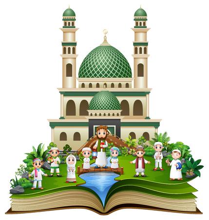 Libro abierto con feliz familia musulmana frente a una mezquita