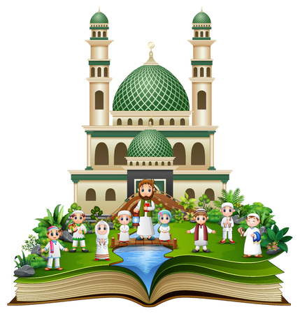 Libro aperto con famiglia musulmana felice davanti a una moschea