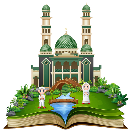 Open book with Happy Muslim Kids cartoon in front of a mosque