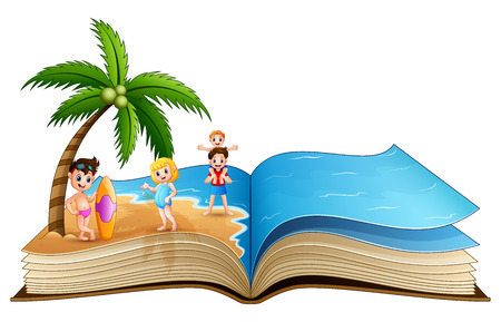 Open book with happy children on tropical beach