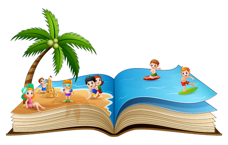 Open book with group of children playing on tropical beach