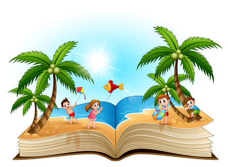 Open book with group of happy children playing on the beach  イラスト・ベクター素材
