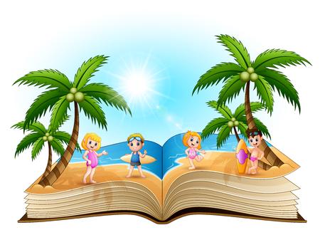 Open book with cartoon happy children on the beach