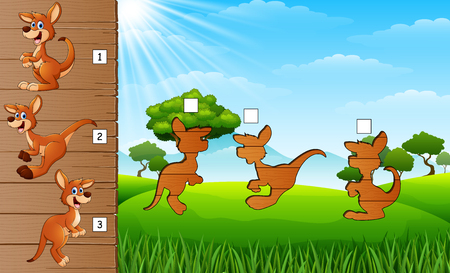 Cartoon kangaroos collection set. Find the correct shadow on board. Educational game for children Ilustracja