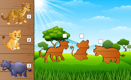Cartoon Africa animals collection set. Find the correct shadow on board. Educational game for children