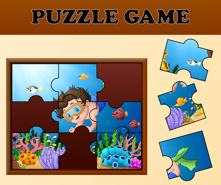 Educational puzzle game for preschool children with Cartoon boy diving in the beautiful underwater world