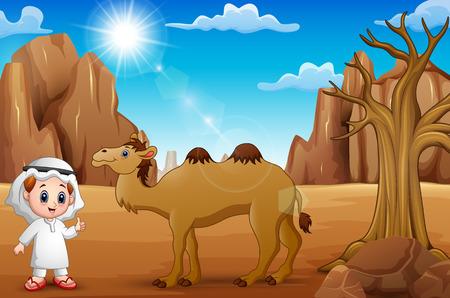 I ragazzi arabi si divertono con i cammelli nel deserto
