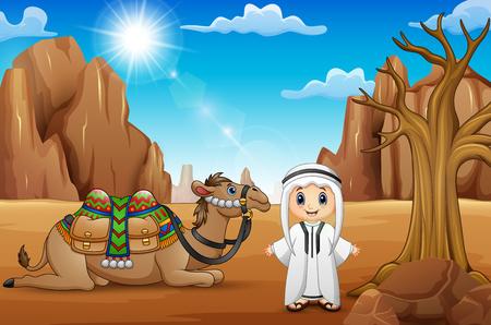 Ragazzi arabi con i cammelli nel deserto