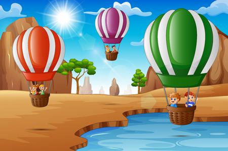 Cartoon happy kids riding hot air balloon in the desert
