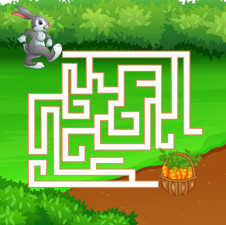 Illustration of education maze game rabbit looking for carrots