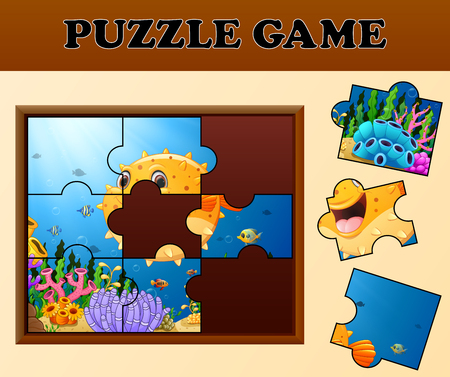 Puffer fish in undersea with puzzle concept Illustration