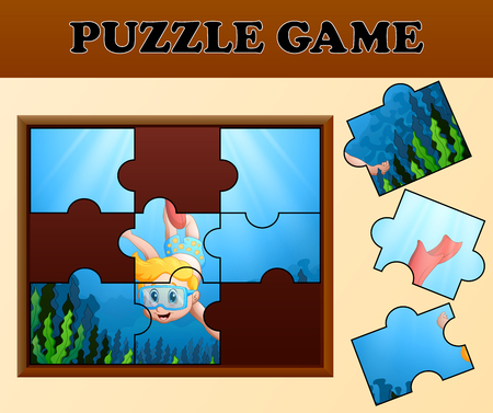 Boy diving in undersea with puzzle concept Illustration