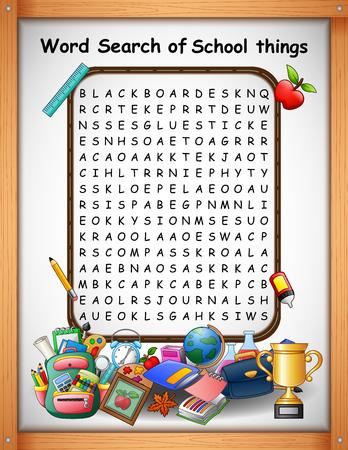 Mots croisés mot trouver des choses à l'école pour les jeux d'enfants