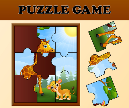 Jigsaw puzzle game with happy wild animals
