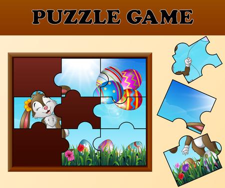 Puzzlespiel mit fröhlichen Osterhasen Vektorgrafik