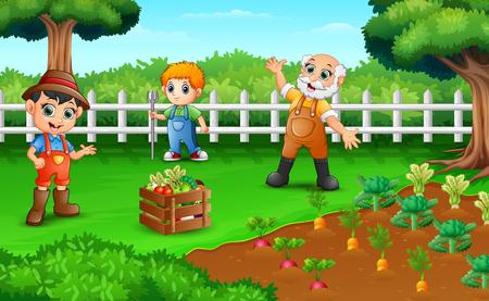 Bauern ernten die Ergebnisse ihrer Plantagen