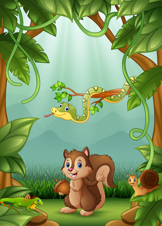 The animals happy an activity in jungle Stock Illustratie
