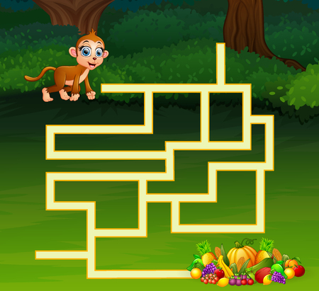 Game monkey maze find their way to the fruit Stock Vector - 106881143
