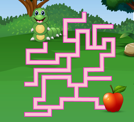 Game caterpillar maze find their way to the apple Stock Vector - 106881144