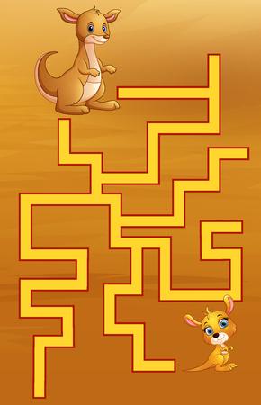 Game kangaroos maze find their way to the child