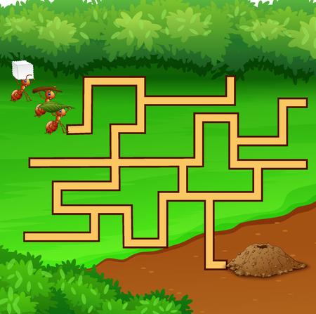 I giochi di formiche labirinto trovano la loro strada verso il terreno buco